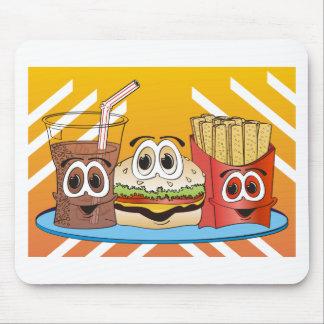 Dibujo animado de los alimentos de preparación ráp tapetes de raton