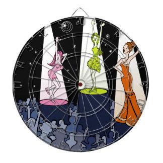Dibujo animado de los artistas de la música del tablero dardos
