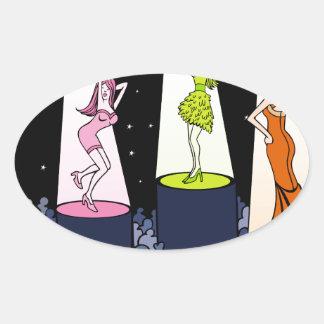 Dibujo animado de los artistas de la música del pegatina ovalada