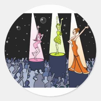 Dibujo animado de los artistas de la música del pegatina redonda