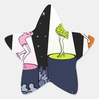 Dibujo animado de los artistas de la música del pegatina en forma de estrella