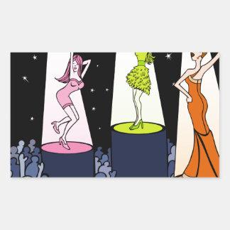 Dibujo animado de los artistas de la música del pegatina rectangular