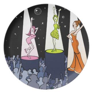 Dibujo animado de los artistas de la música del plato