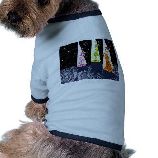 Dibujo animado de los artistas de la música del camiseta con mangas para perro