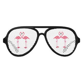 Dibujo animado de los flamencos gafas de fiesta