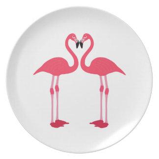 Dibujo animado de los flamencos plato para fiesta