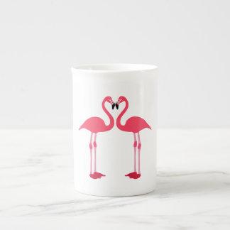 Dibujo animado de los flamencos tazas de porcelana