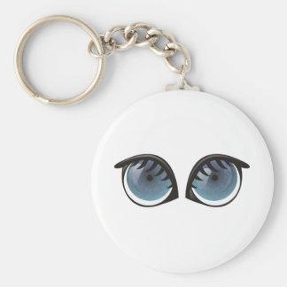 Dibujo animado de los ojos azules llavero redondo tipo pin