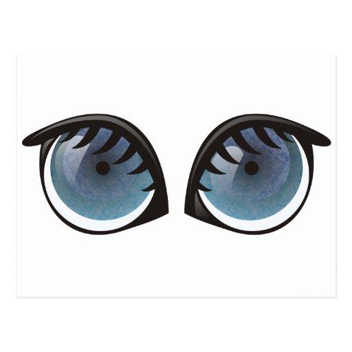 Dibujo animado de los ojos azules postal