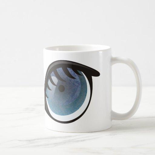 Dibujo animado de los ojos azules taza de café