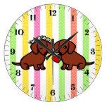 Dibujo animado de los pares del amor del Dachshund Relojes