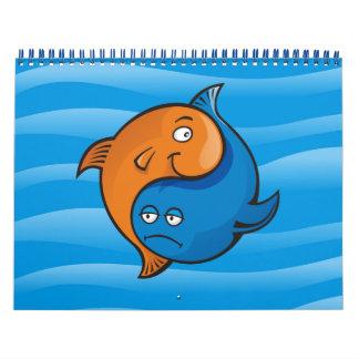 Dibujo animado de los pescados de Yin Yang Calendarios