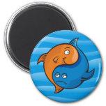 Dibujo animado de los pescados de Yin Yang Imanes Para Frigoríficos
