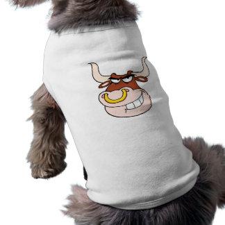 dibujo animado de mueca principal del toro enojado playera sin mangas para perro