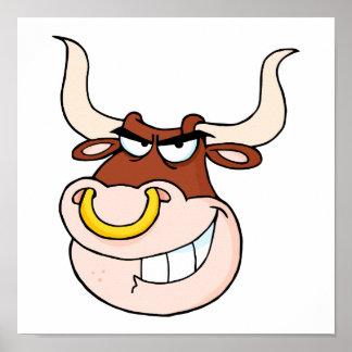 dibujo animado de mueca principal del toro enojado póster