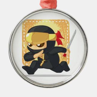Dibujo animado de Ninja que sostiene la espada Ornamente De Reyes