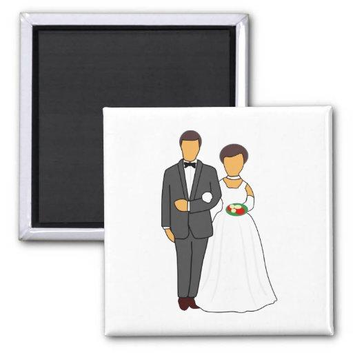 Dibujo animado de novia y del novio imanes de nevera