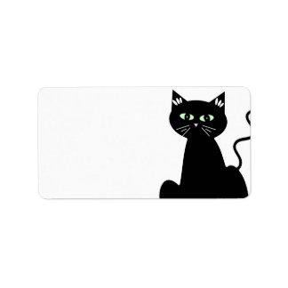 Dibujo animado de ojos verdes retro lindo del gato etiqueta de dirección