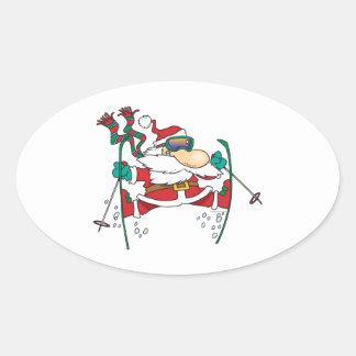 dibujo animado de Papá Noel del esquí Pegatina Ovalada