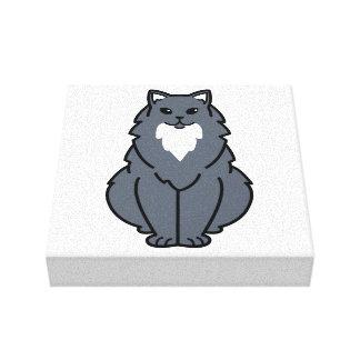 Dibujo animado de pelo largo americano del gato impresiones en lienzo estiradas