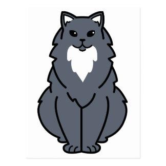 Dibujo animado de pelo largo americano del gato tarjeta postal