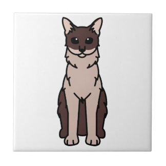 Dibujo animado de pelo largo oriental del gato azulejo cuadrado pequeño