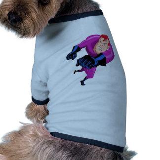 dibujo animado de perforación de funcionamiento de camiseta de mascota