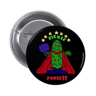 Dibujo animado de Pickleball del super héroe del p Pin Redondo De 2 Pulgadas