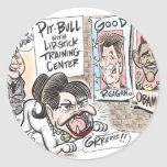 Dibujo animado de Pitbull Pegatina Redonda