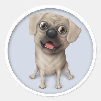 Dibujo animado de Pugle 2 Pegatina Redonda