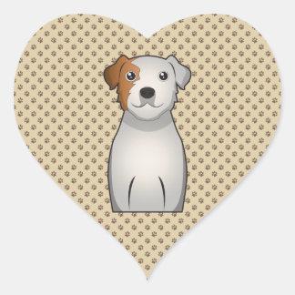 Dibujo animado de Russell Terrier del párroco Calcomanía De Corazón