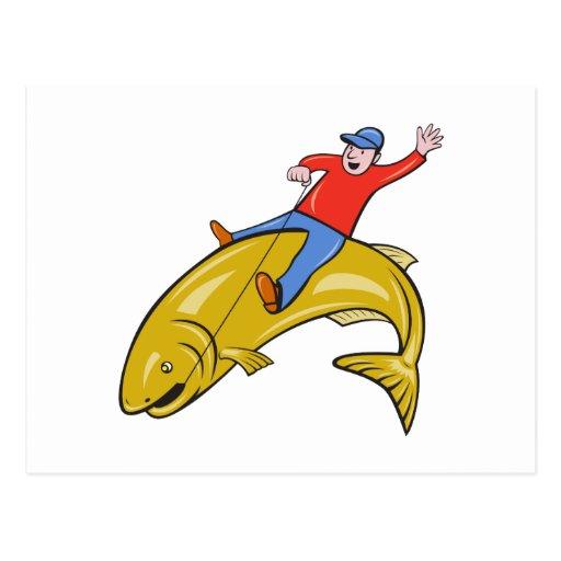 Dibujo animado de salto de los pescados de la tarjetas postales