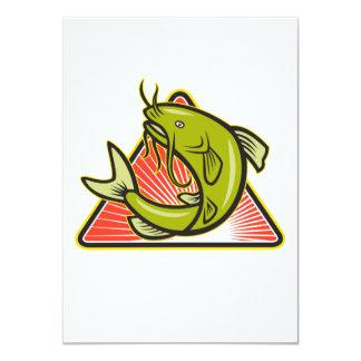 """Dibujo animado de salto de los pescados del siluro invitación 4.5"""" x 6.25"""""""