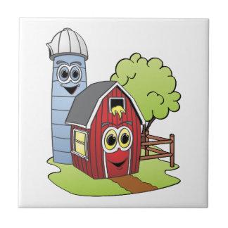 Dibujo animado de Silo del granero Azulejo Cuadrado Pequeño