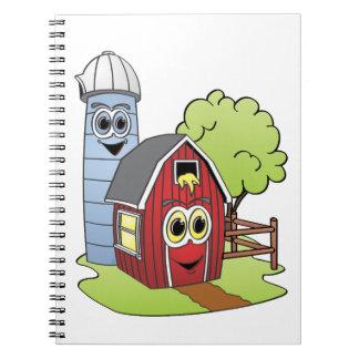 Dibujo animado de Silo del granero Spiral Notebooks