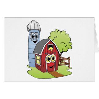 Dibujo animado de Silo del granero Tarjeta De Felicitación