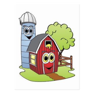 Dibujo animado de Silo del granero Tarjetas Postales