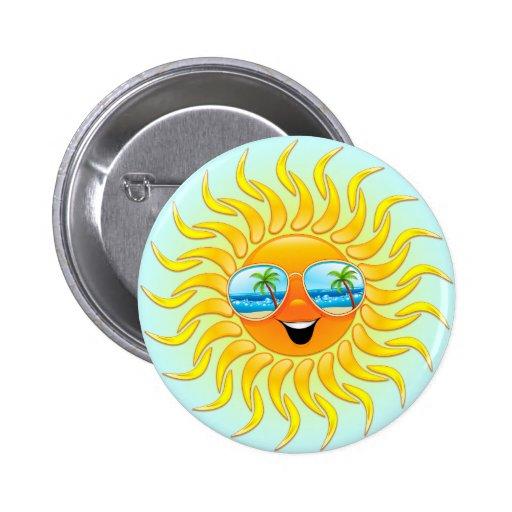 Dibujo animado de Sun del verano con el botón de l