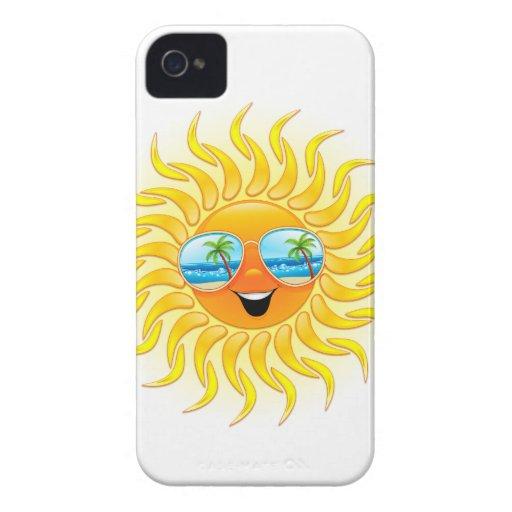Dibujo animado de Sun del verano con el caso del i iPhone 4 Carcasas