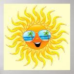 Dibujo animado de Sun del verano con el poster de  Póster