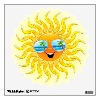 Dibujo animado de Sun del verano con la etiqueta d