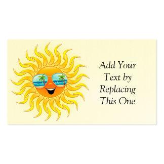 Dibujo animado de Sun del verano con la tarjeta de Tarjetas De Visita
