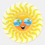 Dibujo animado de Sun del verano con los pegatinas Etiquetas Redondas