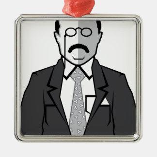 Dibujo animado de Theodore Roosevelt Adorno Navideño Cuadrado De Metal