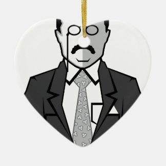 Dibujo animado de Theodore Roosevelt Adorno Navideño De Cerámica En Forma De Corazón