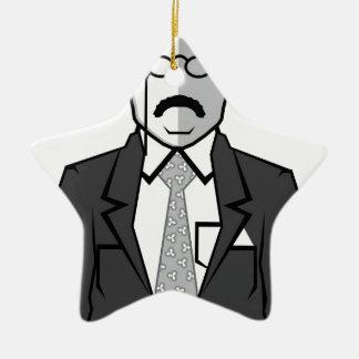 Dibujo animado de Theodore Roosevelt Adorno Navideño De Cerámica En Forma De Estrella