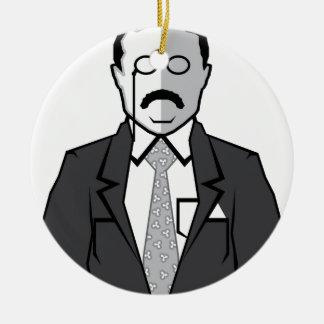 Dibujo animado de Theodore Roosevelt Adorno Navideño Redondo De Cerámica