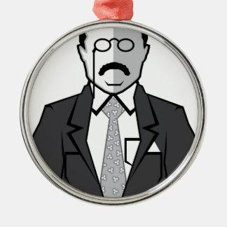Dibujo animado de Theodore Roosevelt Adorno Navideño Redondo De Metal