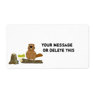 Dibujo animado de torneado de madera divertido del etiqueta de envío