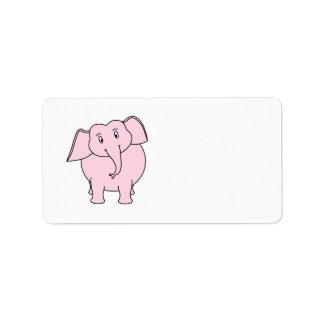 Dibujo animado de un elefante rosado etiqueta de dirección